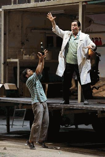 As Dulcamara at La Scala in 2010 with Francesco Demuro as Nemorino. Photo Brescia.