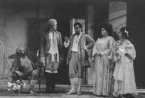 As Figaro in St. Gallen with Bo Scovhus as the Count (left), Caroline James as the Countess (first on the right), and Andrea Rost as Susanna.